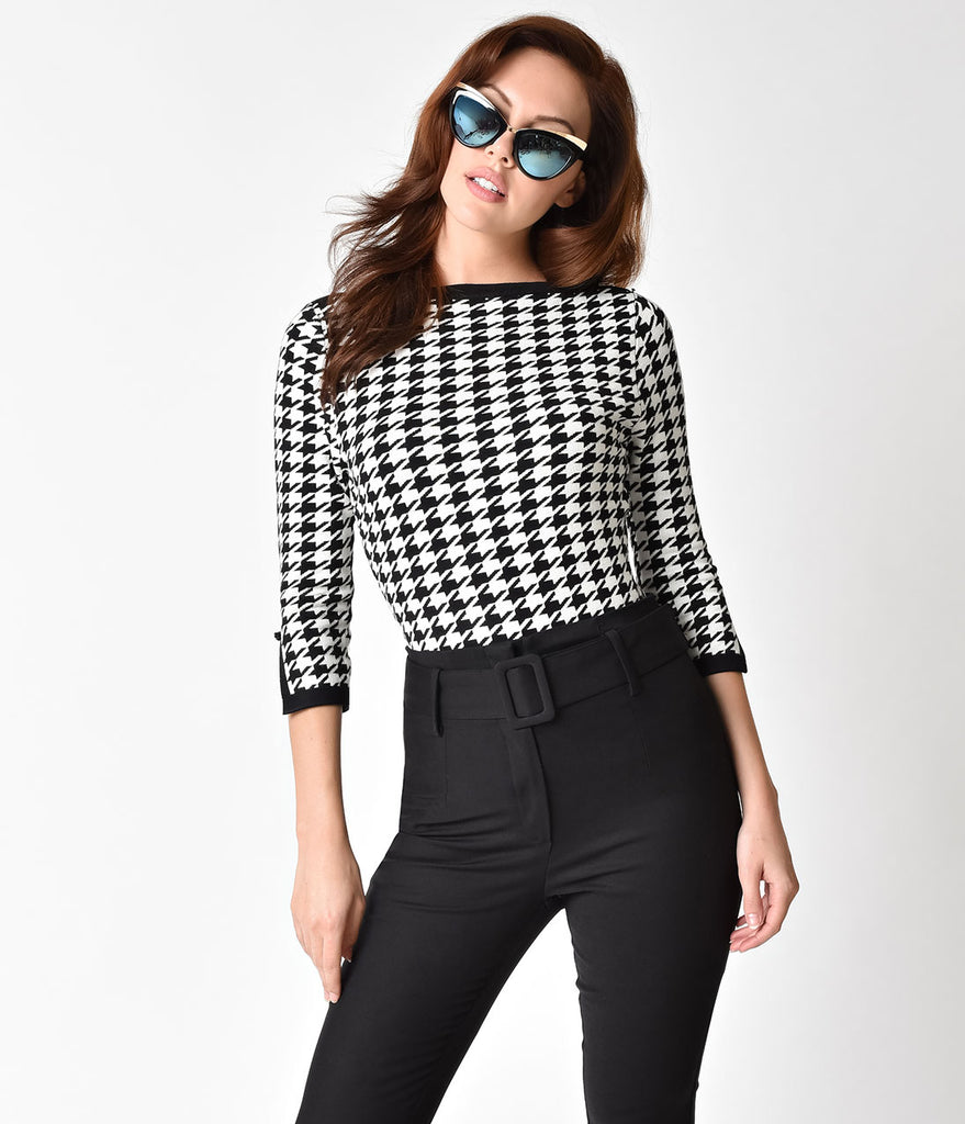 Banned Black & White Houndstooth Sleeved Izzy Sweater Top