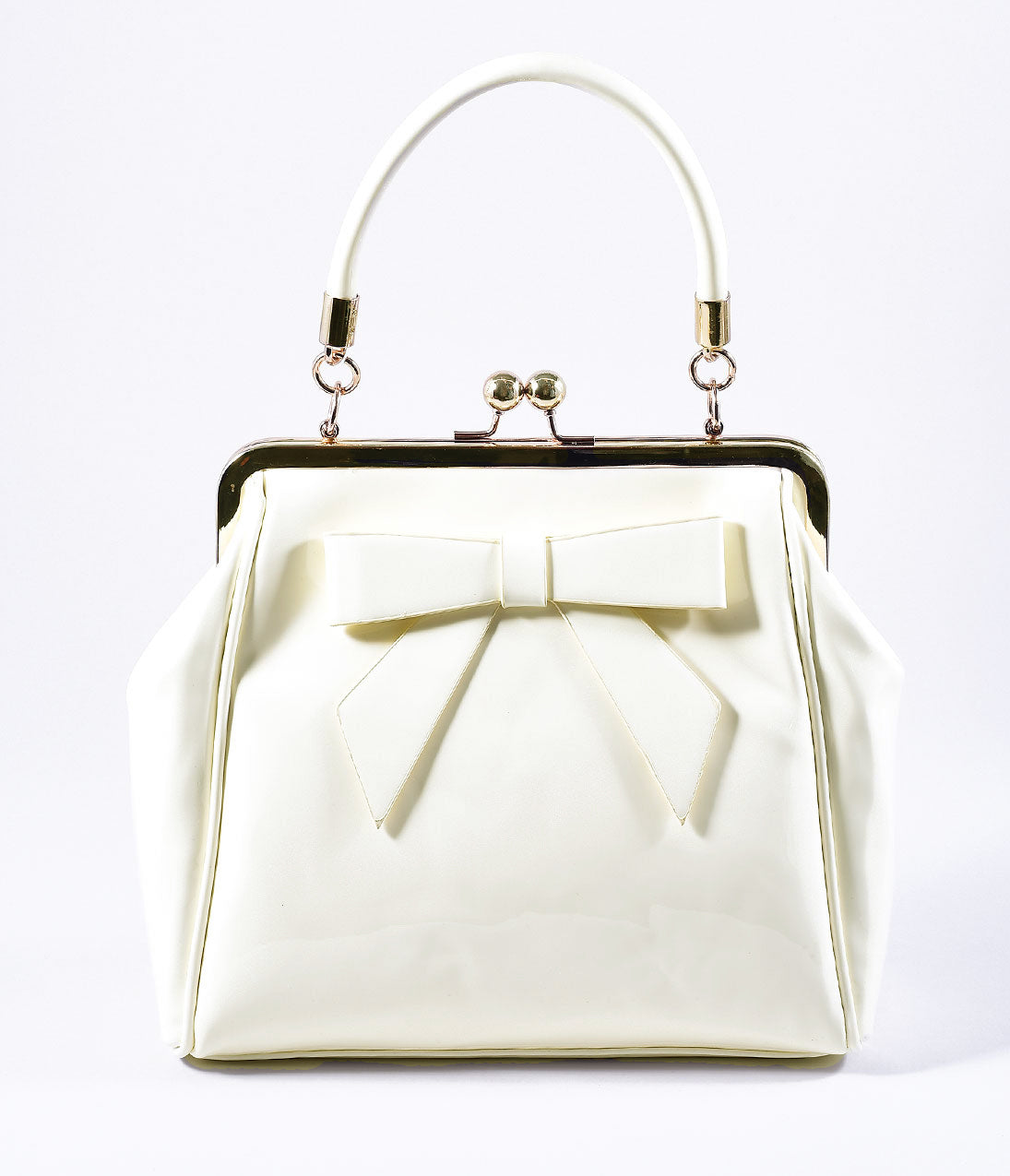 Vintage & Retro Handbags, Purses, Wallets, Bags Banned Cream Patent Leatherette Top Frame Handbag $66.00 AT vintagedancer.com