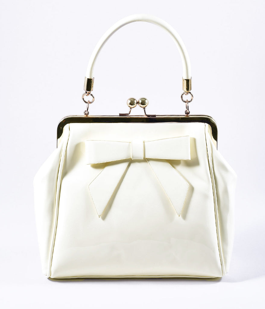 Banned Cream Patent Leatherette Top Frame Handbag