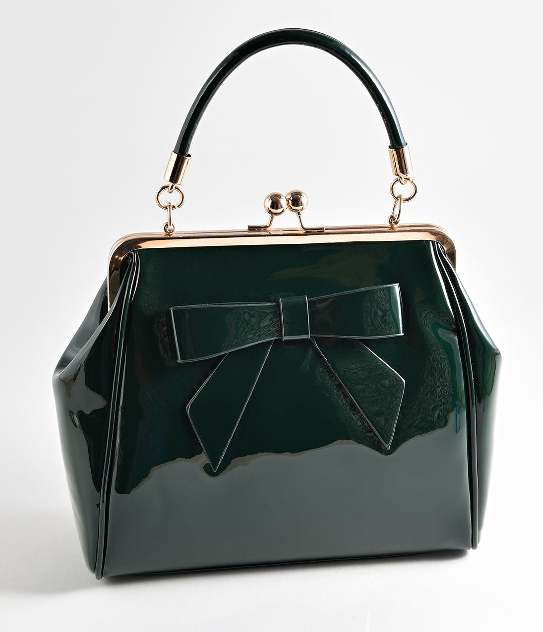 Vintage & Retro Handbags, Purses, Wallets, Bags Banned Emerald Green Patent Leatherette Top Frame Handbag $66.00 AT vintagedancer.com