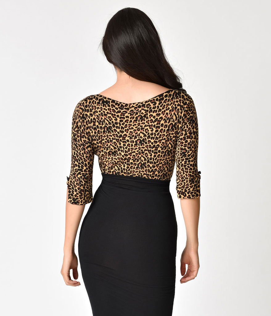 Banned Leopard Print Three-Quarter Sleeve Rocky Sweater Top