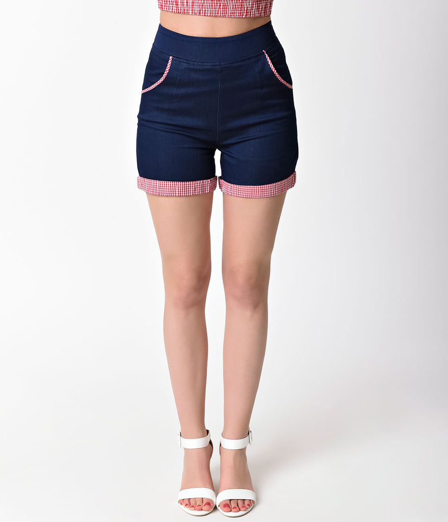Banned Navy Blue & Gingham Stretch Blueberry Hills Shorts