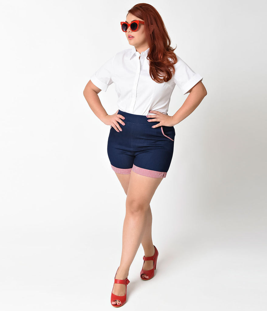 Banned Plus Size Navy Blue & Gingham Blueberry Hills Shorts