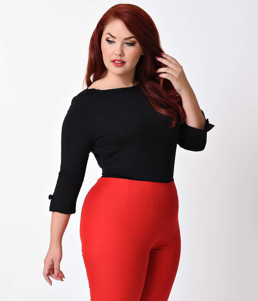 Banned Plus Size Retro Black Three-Quarter Bow Sleeve Knit Modern Love Top