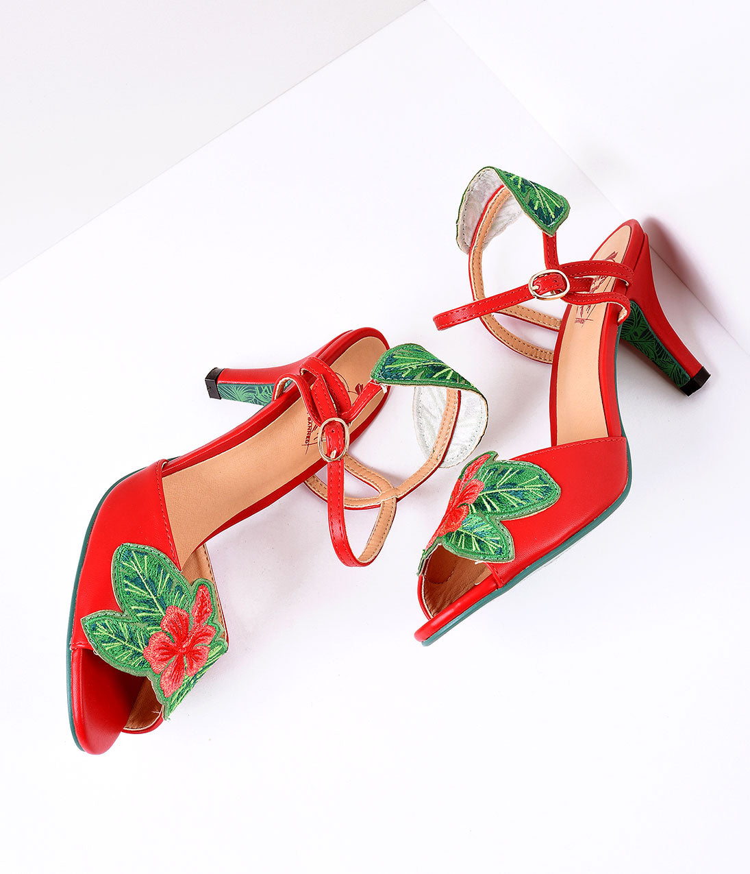 Pin Up Shoes- Heels & Flats Banned Red  April Love Tropical Floral Leatherette Peep Toe Heels Shoes $61.00 AT vintagedancer.com