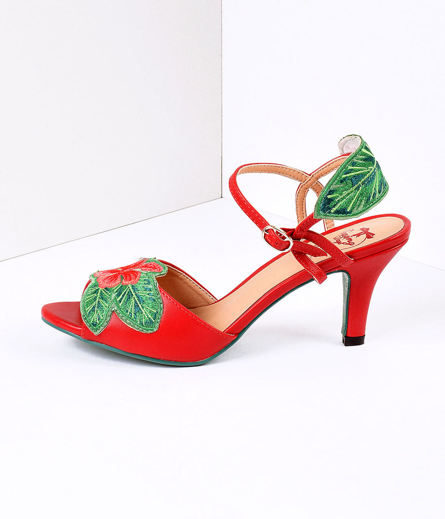 Banned Red & April Love Tropical Floral Leatherette Peep Toe Heels