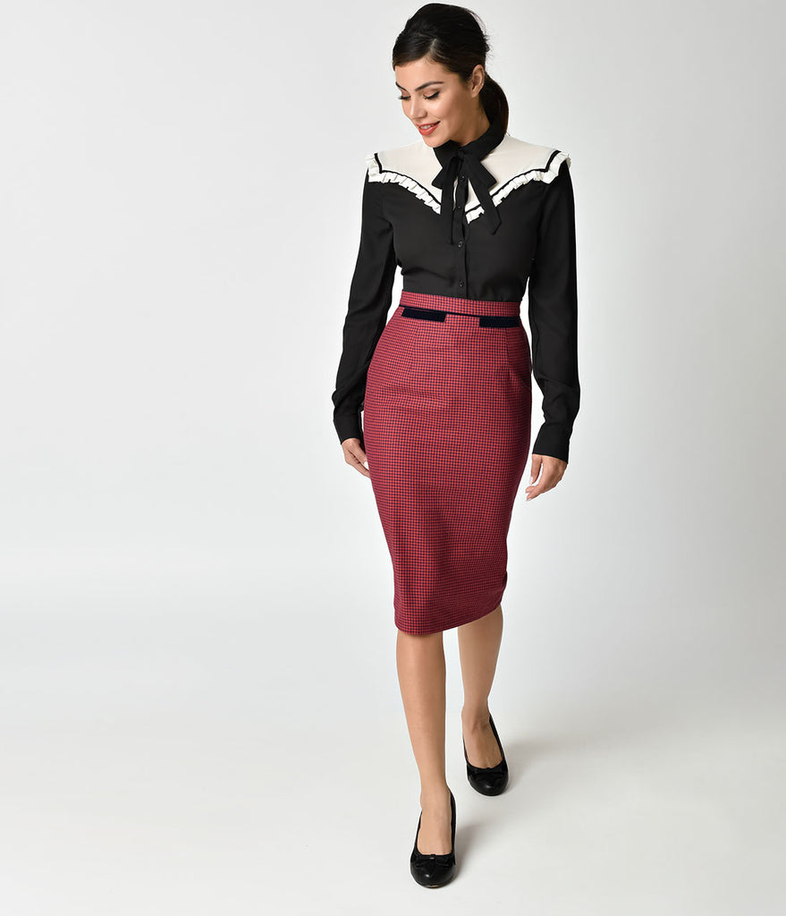 Banned Red & Navy Blue Houndstooth Meghan Pencil Skirt