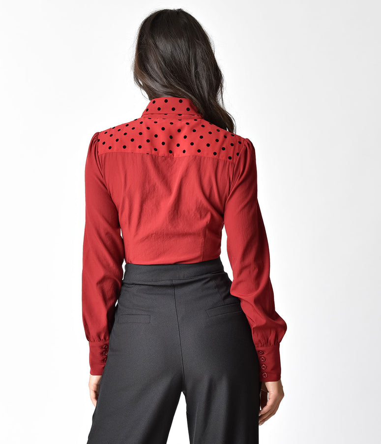 Banned Retro Bordeaux Red Long Sleeve Shine On Blouse