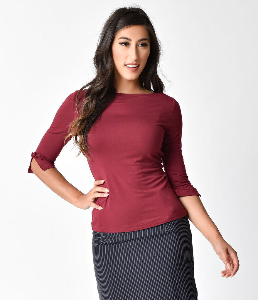 Banned Retro Bordeaux Three-Quarter Sleeve Modern Love Top