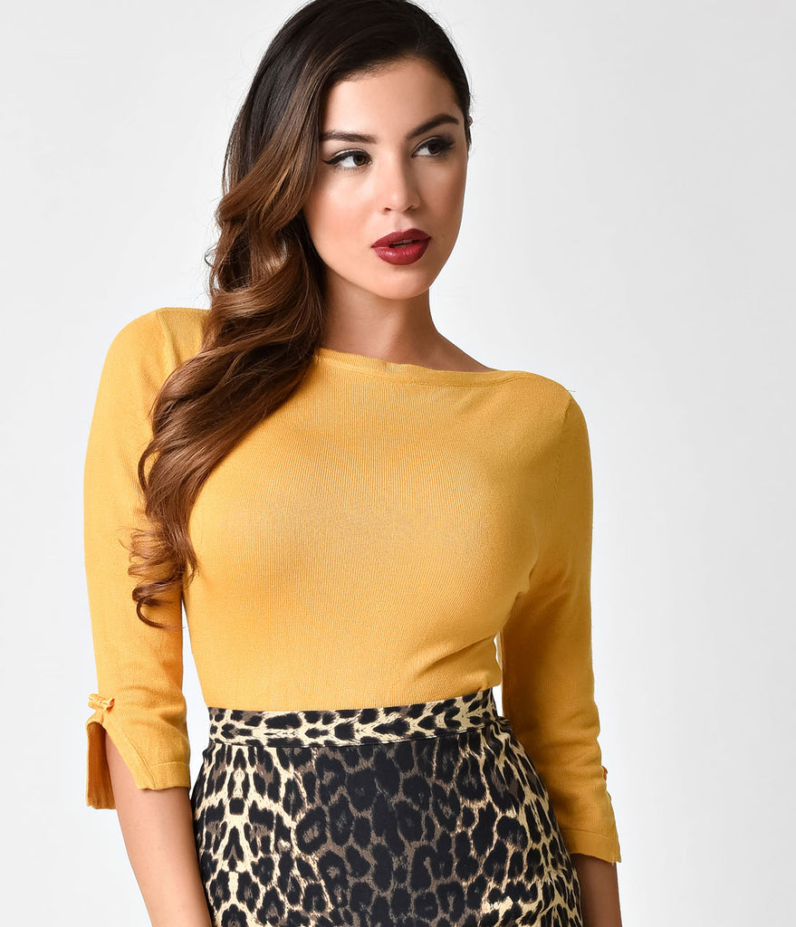 Banned Retro Mustard Long Sleeved Addicted Knit Top Unique Vintage