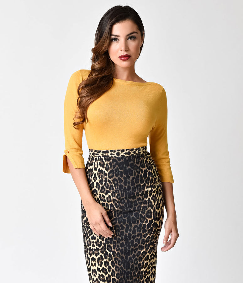 Banned Retro Mustard Long Sleeved Addicted Knit Top
