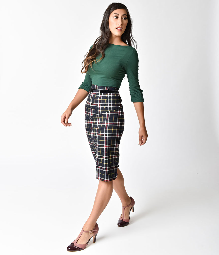 Banned Retro Style Black Tartan Bliss Wiggle Skirt