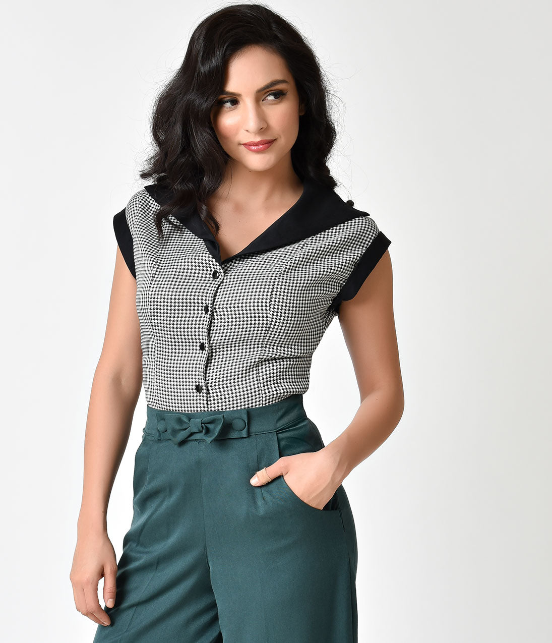 1940s Blouses and Tops Banned Retro Style Black  White Houndstooth Cap Sleeve Izzy Blouse $52.00 AT vintagedancer.com