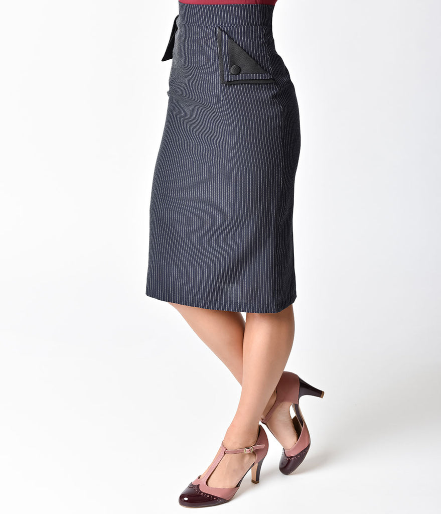 Banned Retro Style Navy & White Pinstripe Purple Haze Wiggle Skirt