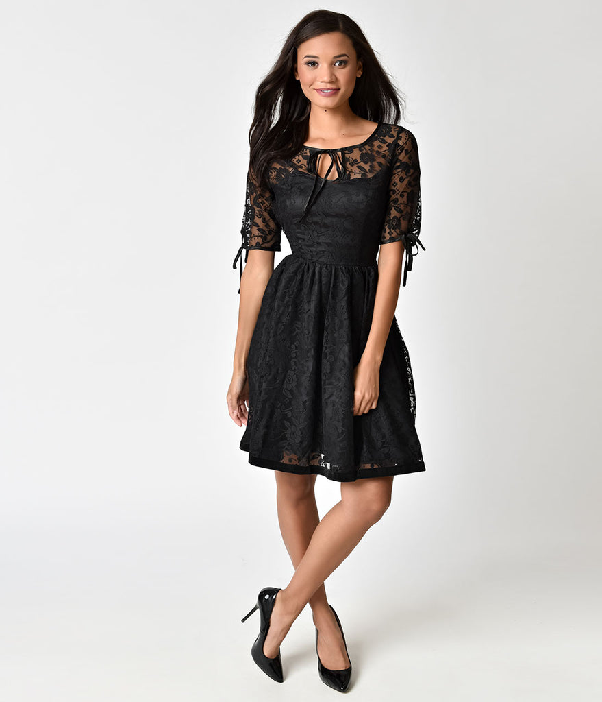 Banned Vintage Black Lace Feeling Rosy Half Sleeve Flare Dress