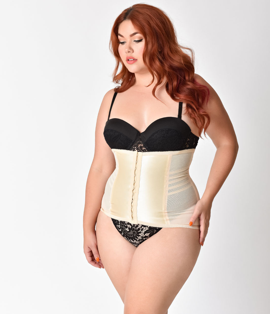 Retro Lingerie, Vintage Lingerie, New 1950s,1960s, 1970s Beige Plus Size Stretch Waist Cincher $44.00 AT vintagedancer.com