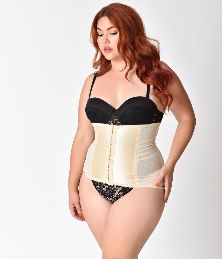 Unique Vintage Plus Size Beige Stretch Waist Cincher