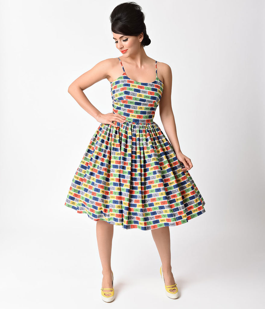Bernie Dexter 1950s Multicolor Chelsea Ticket To Ride Swing Dress