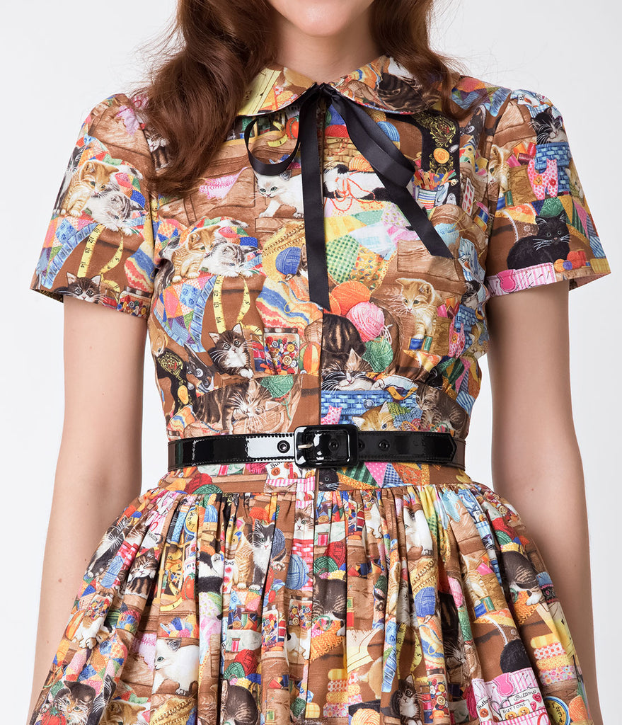 Bernie Dexter 1950s Style Crazy Cat Lady Darlene Swing Dress