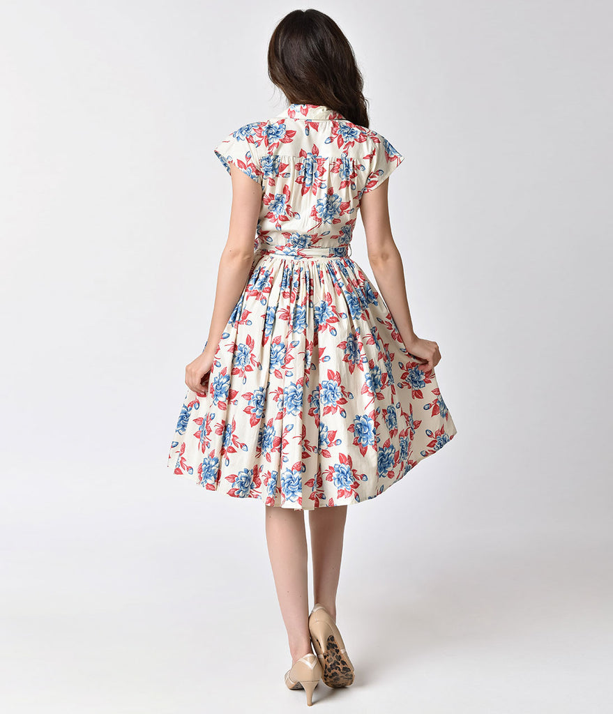 Bernie Dexter 1950s Style Ivory Gardenia Floral Kelly Swing Dress