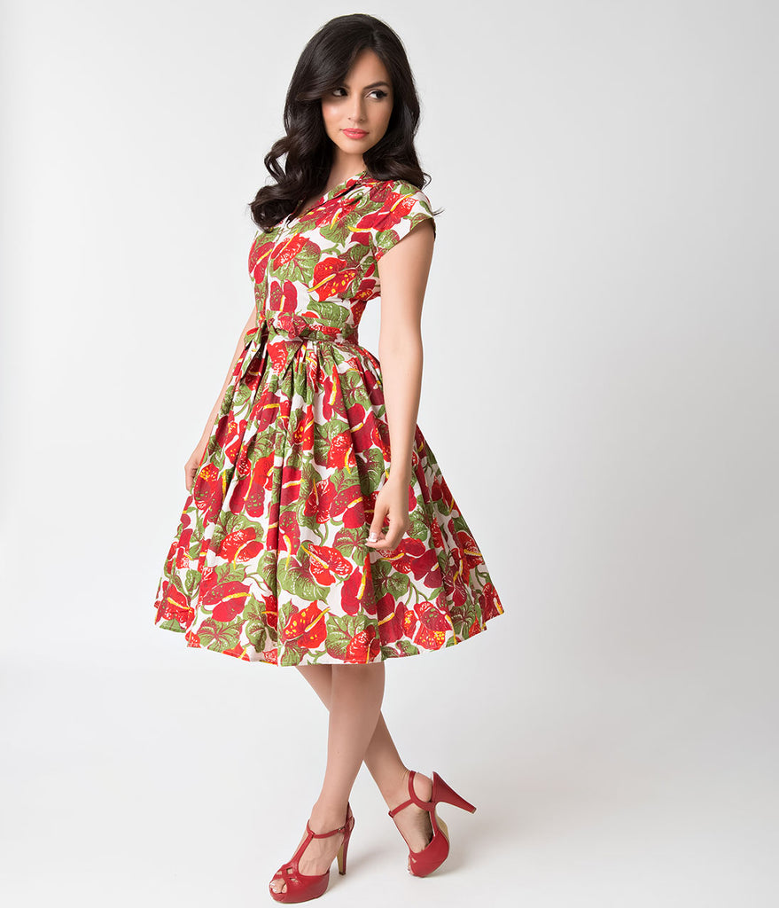 Bernie Dexter 1950s Style Red Tropical Anthurium Kelly Swing Dress