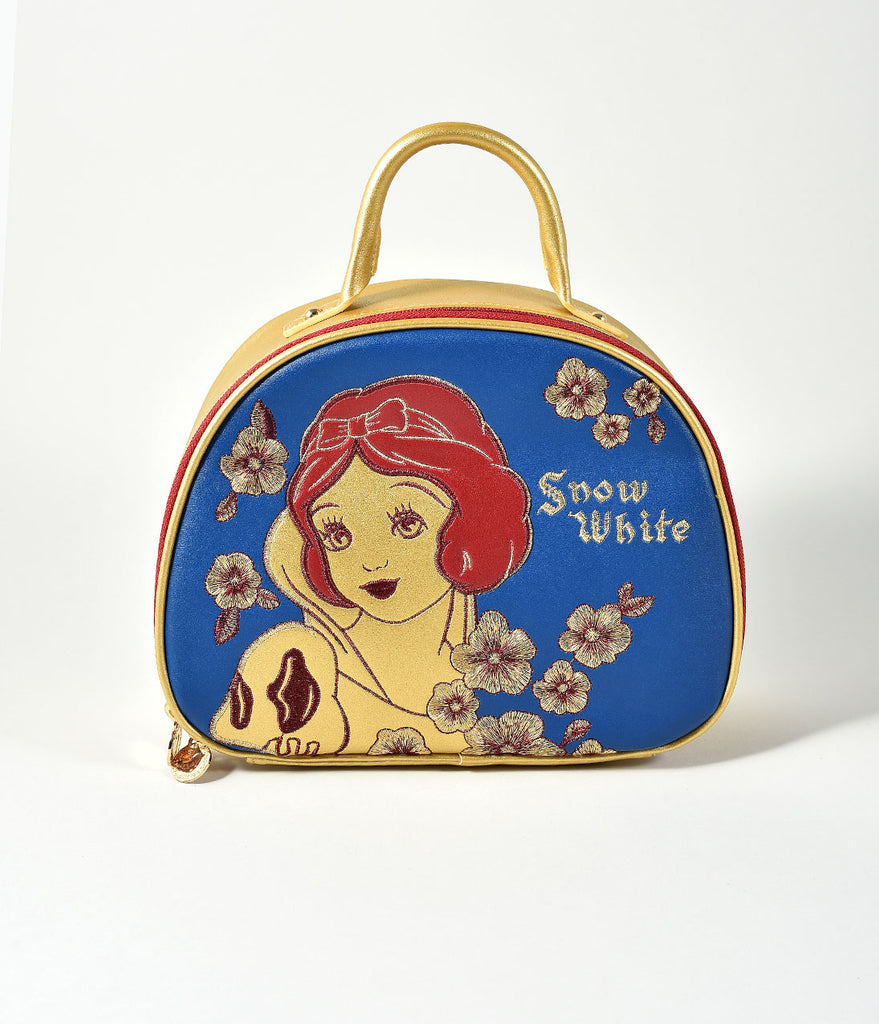 Besame Gold & Blue Snow White Cosmetic Travel Bag
