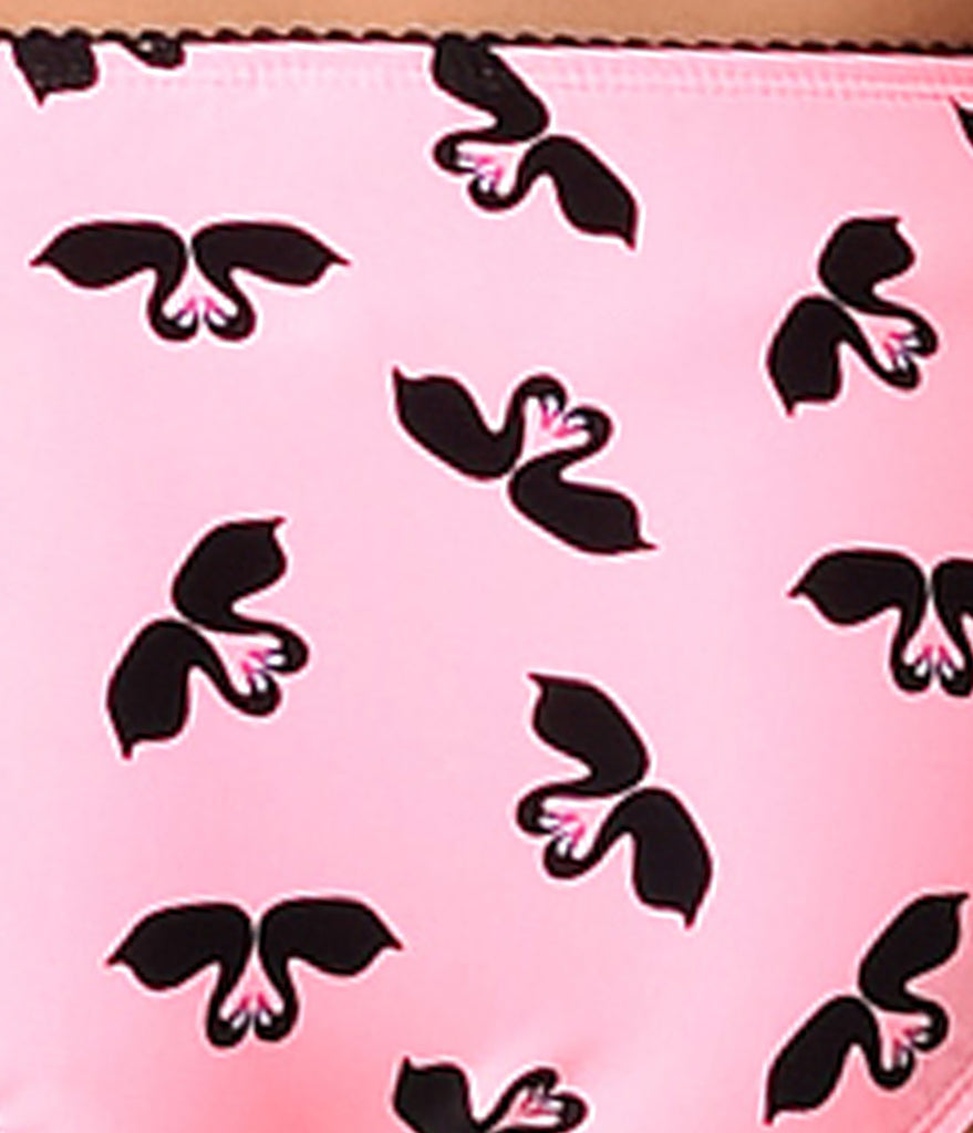 Betsey Johnson Pink & Black Swooning Swans Hipster Swim Bottom