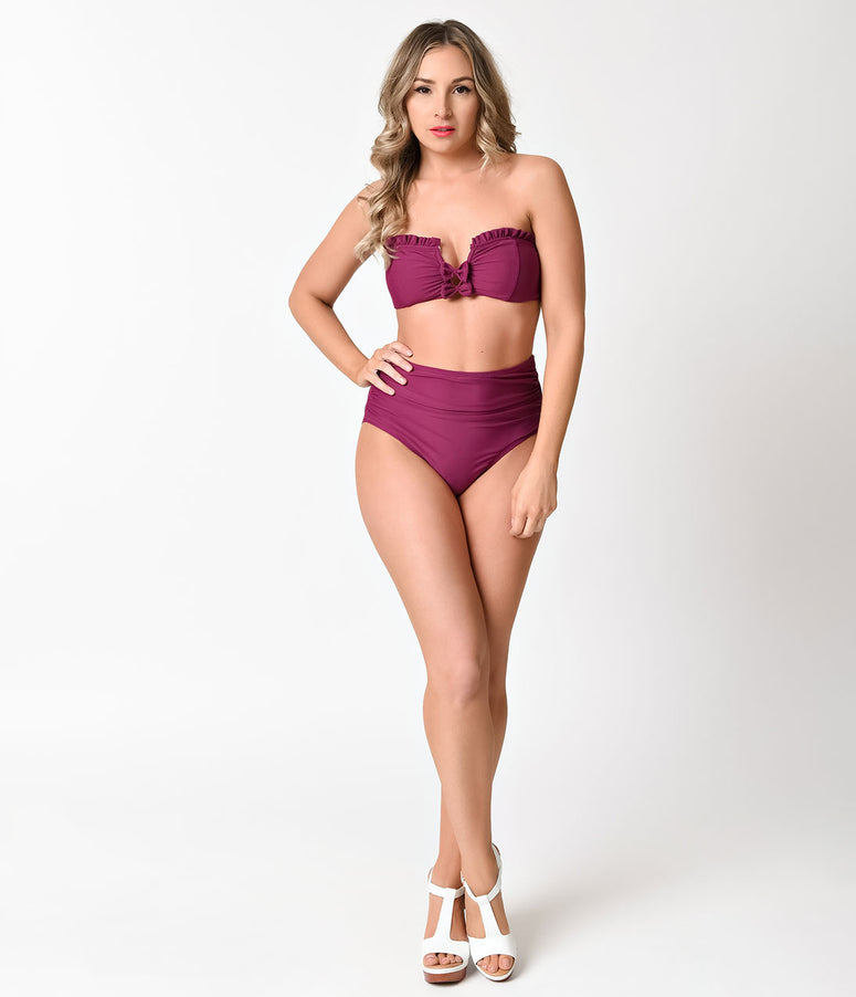 Betsey Johnson Retro Style Plum Purple Malibu High Waist Swim Bottom