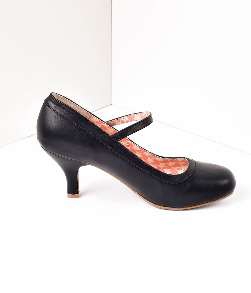 Bettie Page Black Leatherette Bettie Retro Mary Jane Heels