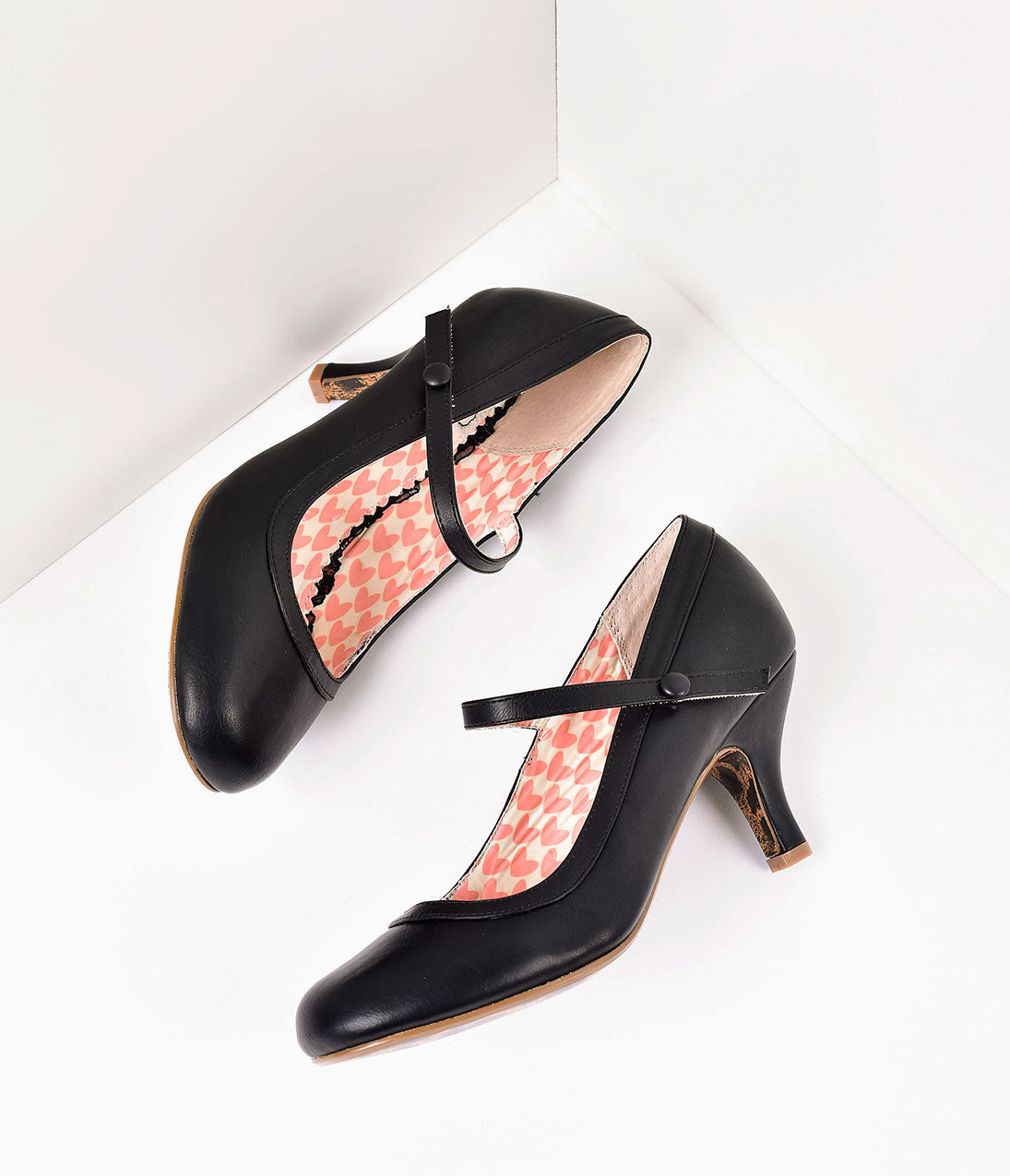 1950s Style Shoes | Heels, Flats, Saddle Shoes Bettie Page Black Leatherette Bettie Retro Mary Jane Heels $68.00 AT vintagedancer.com