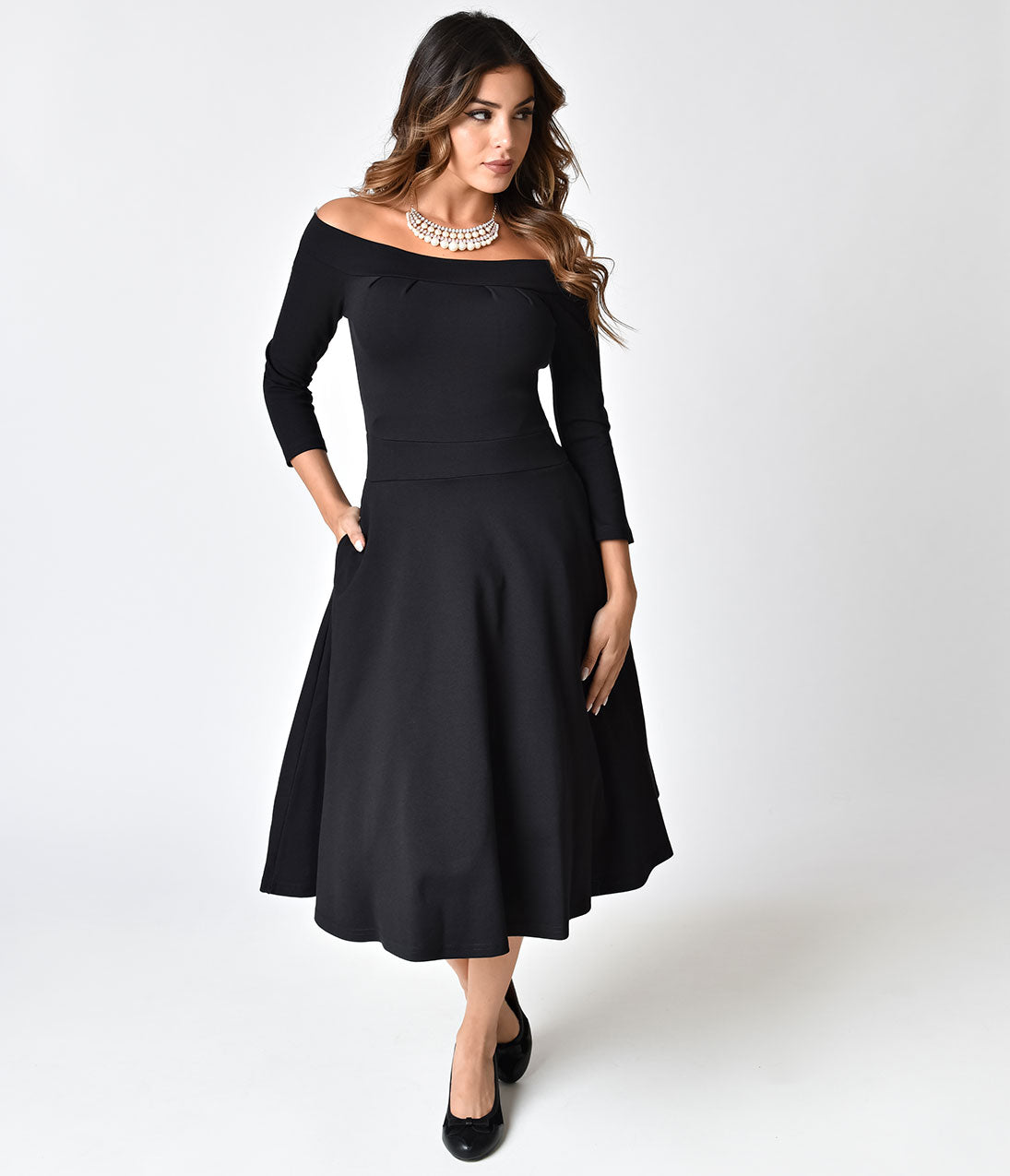 Bettie Page Black Off Shoulder Knit Sleeved Lucy Swing Dress ...