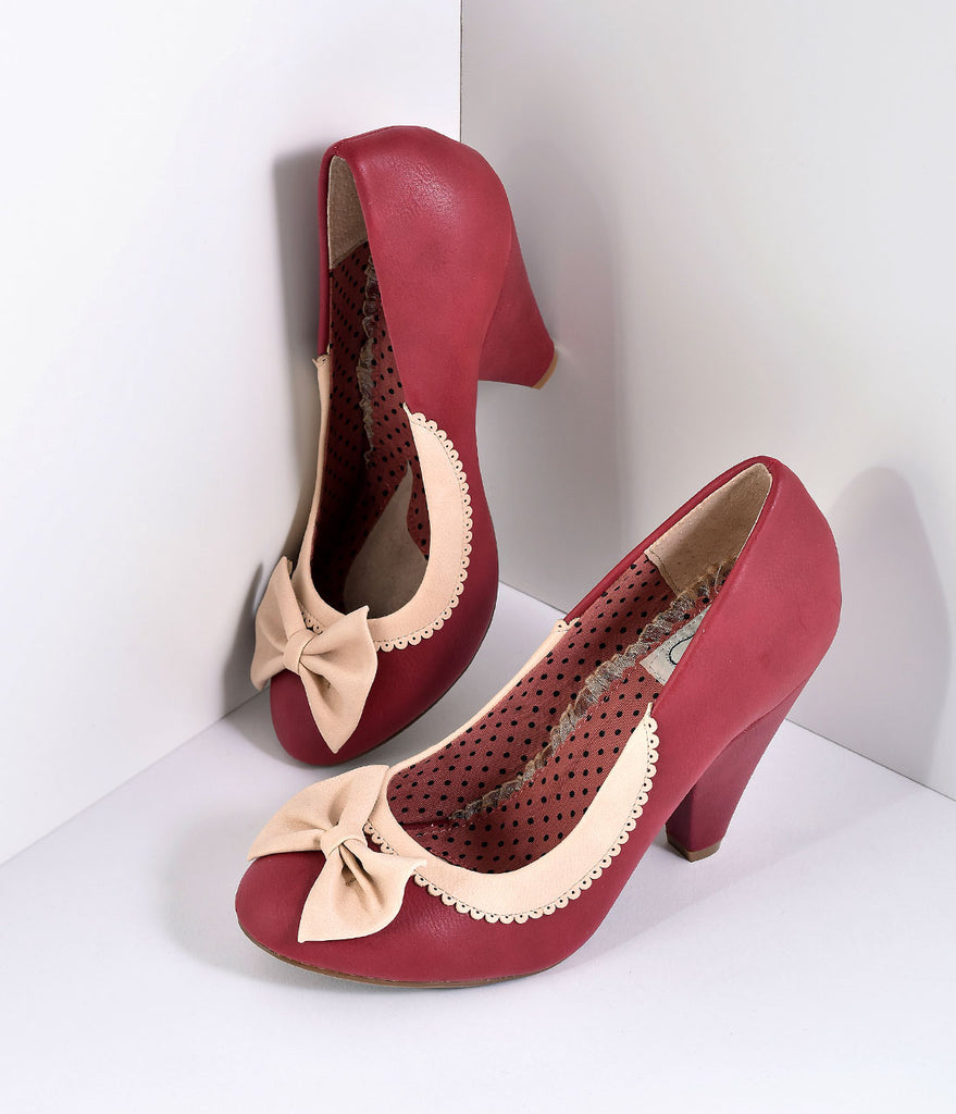 Bettie Page Burgundy & Ivory Leatherette Bailey Bow Pumps