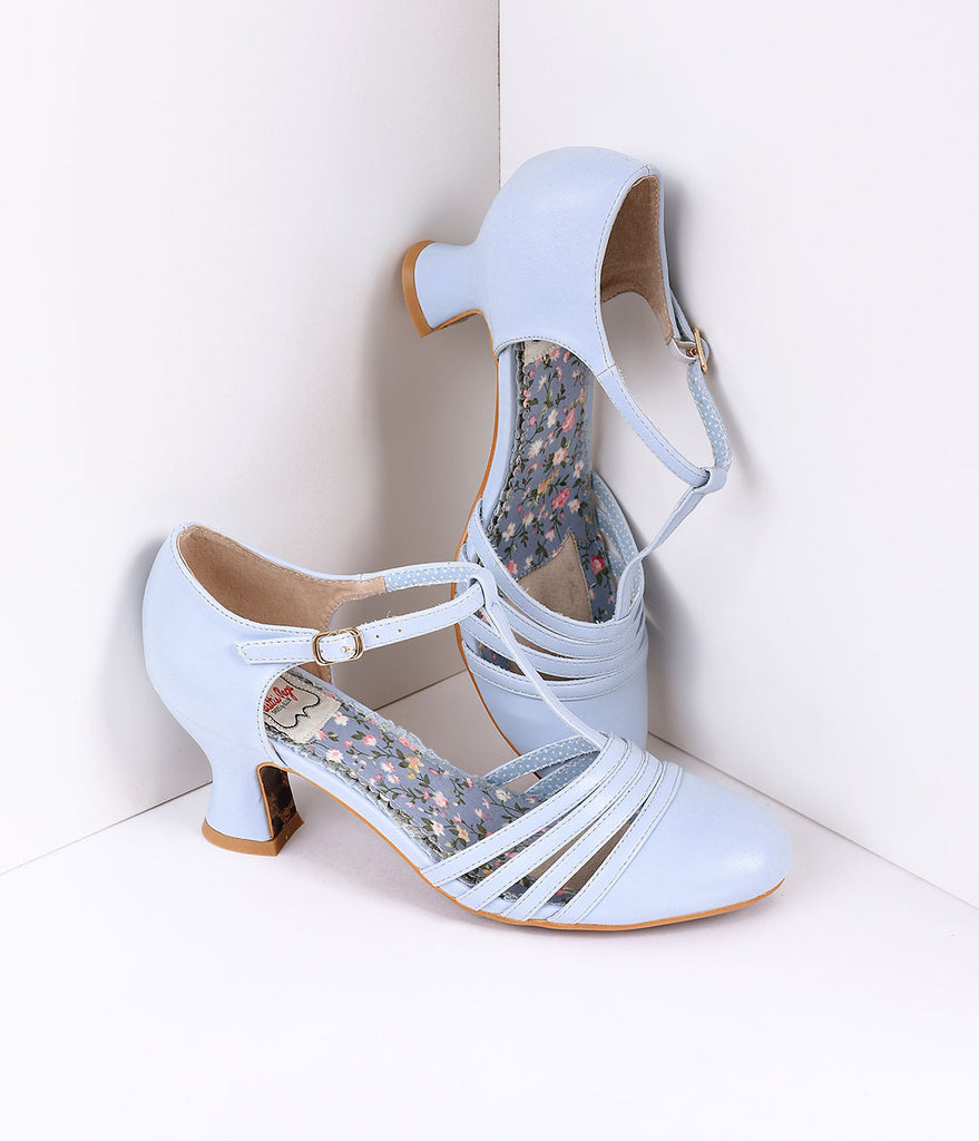 Bettie Page Light Blue Leatherette Lucy T-Strap Heels