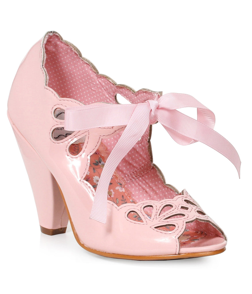 Bettie Page Light Pink Patent Leather Bow Cut Out Peep Toe Heels