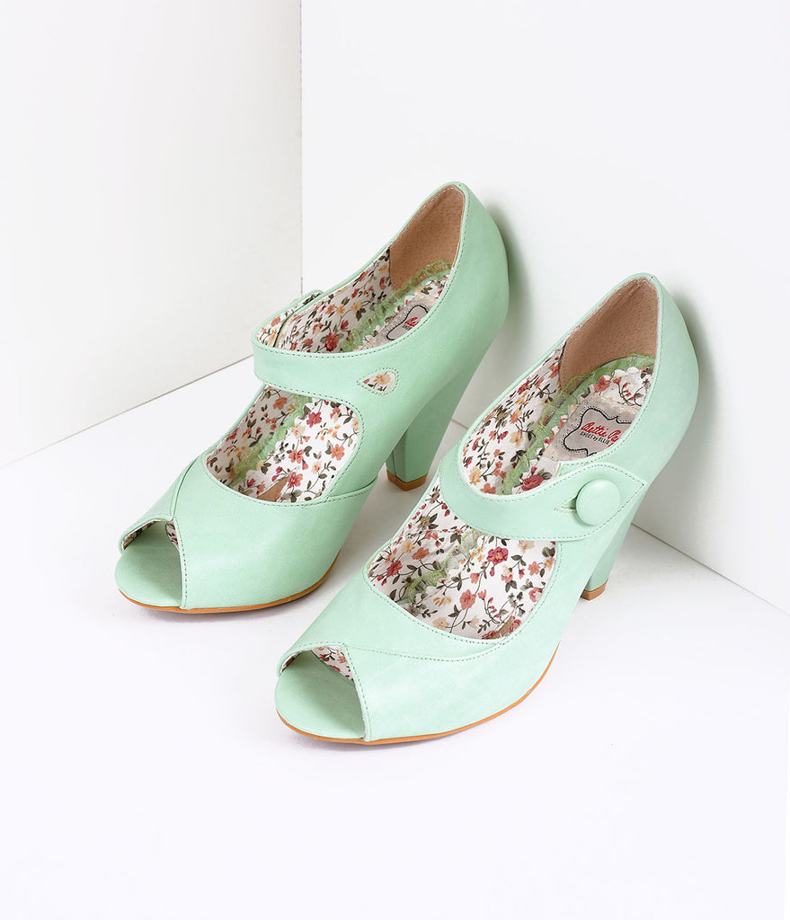 Bettie Page Mint Leatherette Button Shelly Peep Toe Pumps