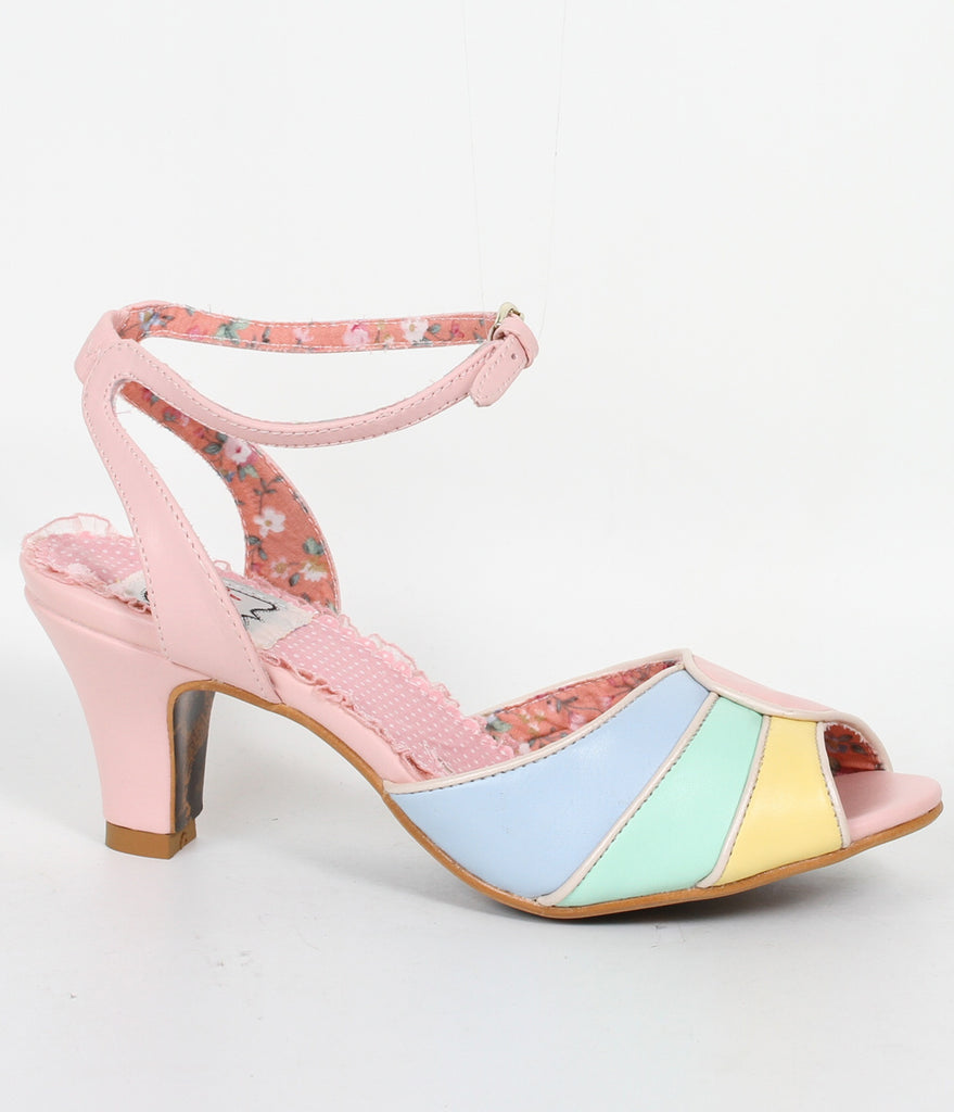Bettie Page Pink & Multicolor Leatherette Abela Peep Toe Heels