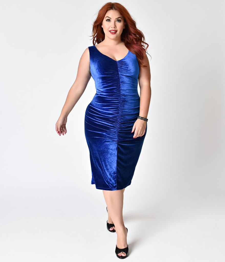 Bettie Page Plus Size Blue Velvet After Hours Ruched Wiggle Dress ...