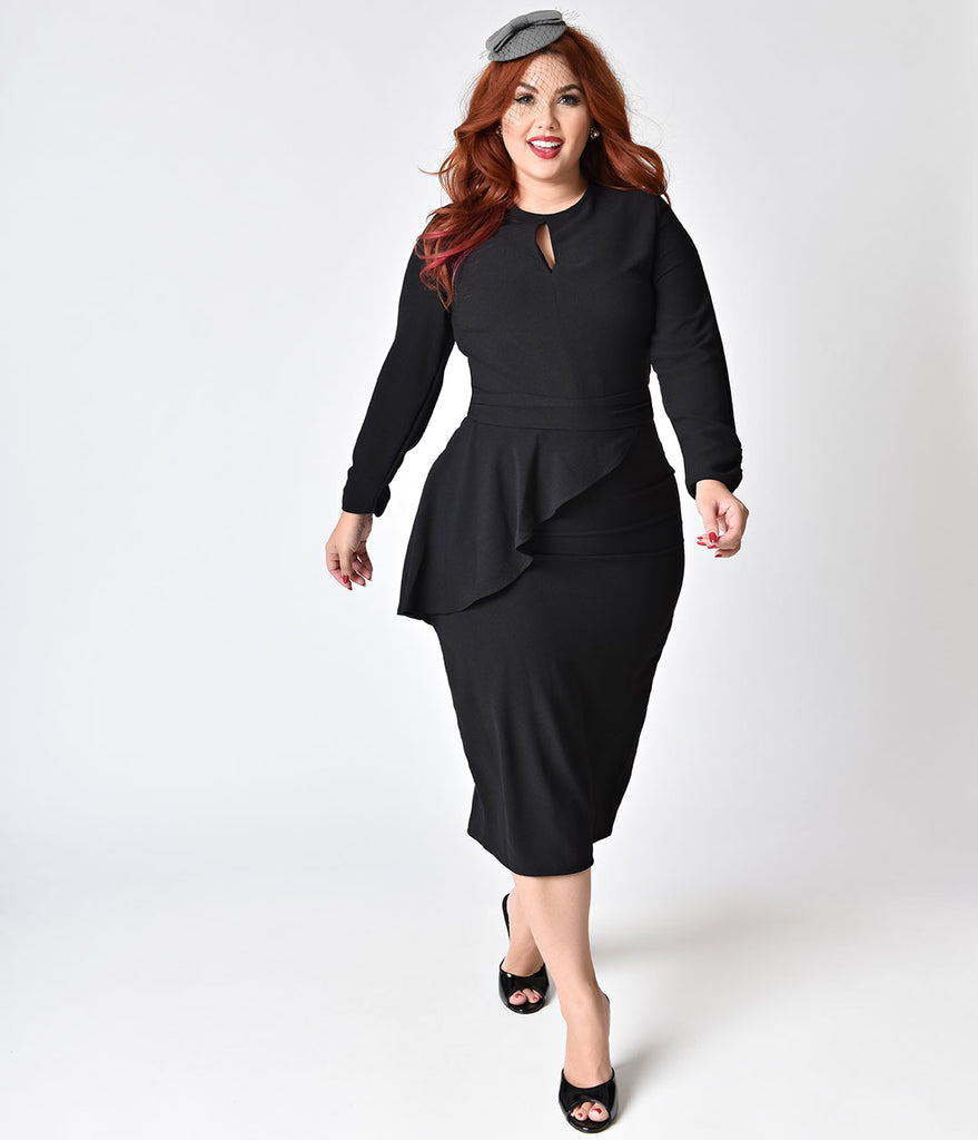 Bettie Page Plus Size Vintage Style Black Crepe Long Sleeve