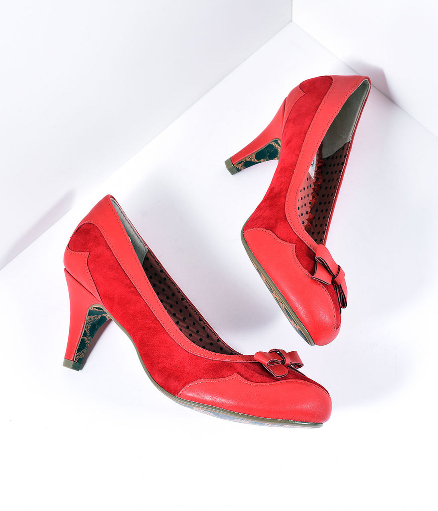 Bettie Page Red Leatherette & Suede Jolie Pumps