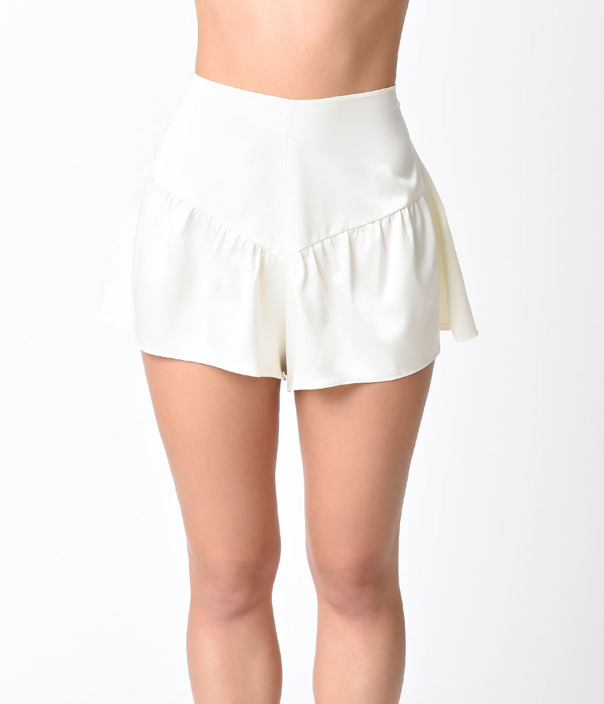 Bettie Page Vintage Style Ivory French Button Up Knicker