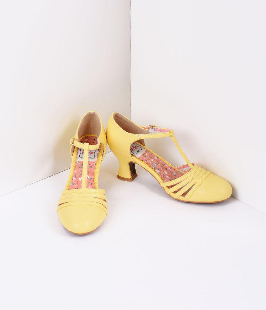 Bettie Page Yellow Leatherette Lucy T-Strap Heels