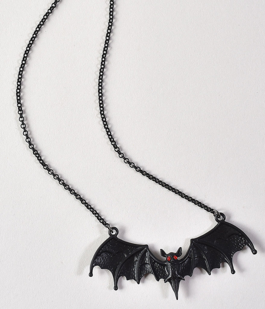 Black Bat & Ruby Red Rhinestone Metal Pendant Necklace