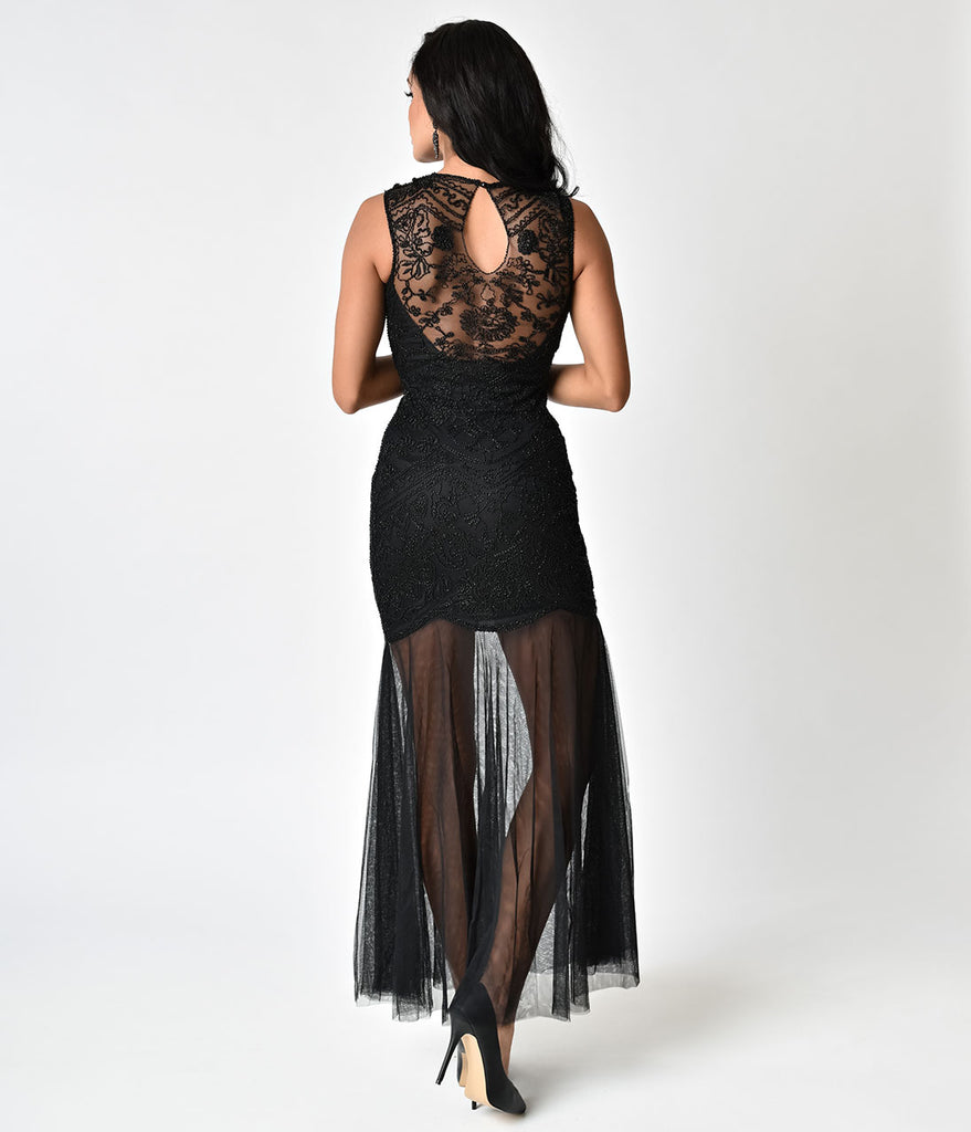 Black Beaded Mermaid Long Flapper-Style Cocktail Dress