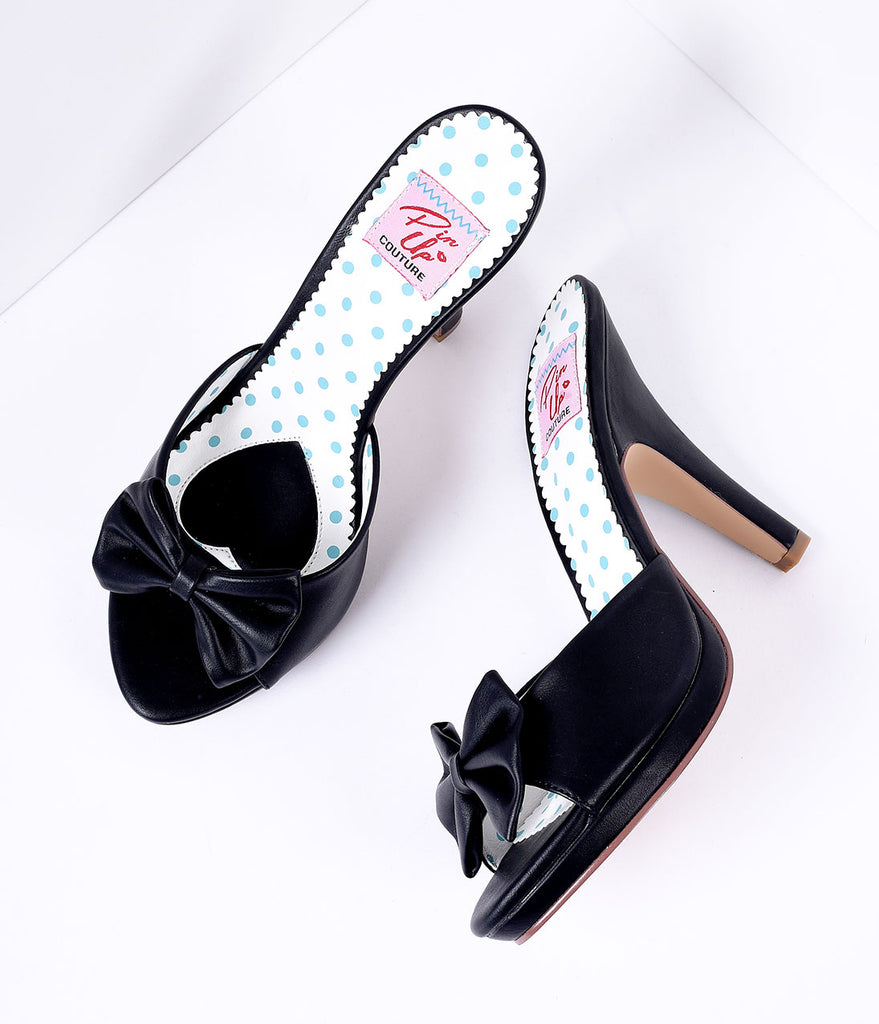 Black Bow Faux Leather Siren Peep Toe Heels