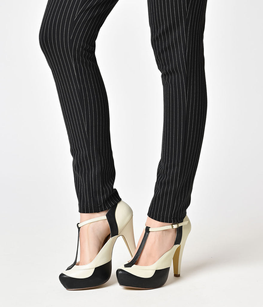Black & Cream Leatherette Bettie T-Strap Platform Heels