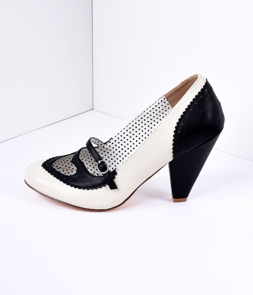 Black & Cream Poppy Heart Spectator Heels