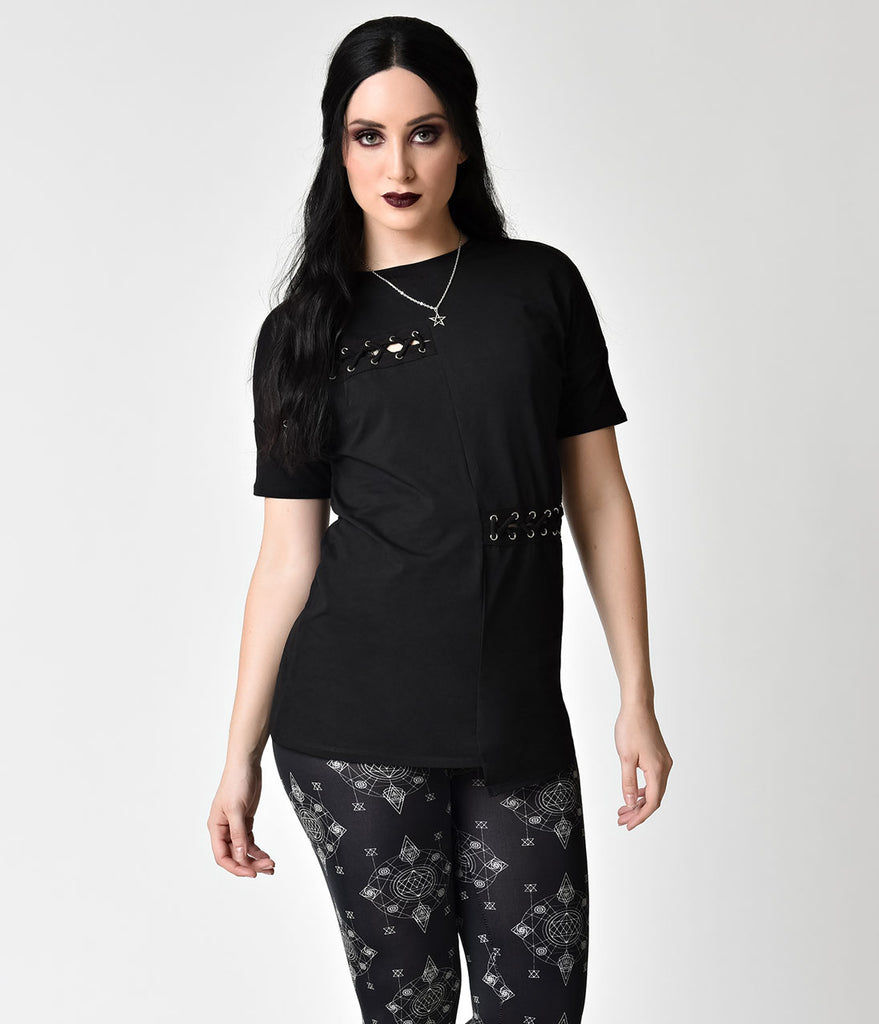 Black Criss Cross Corset Detail Short Sleeve Cotton Tee