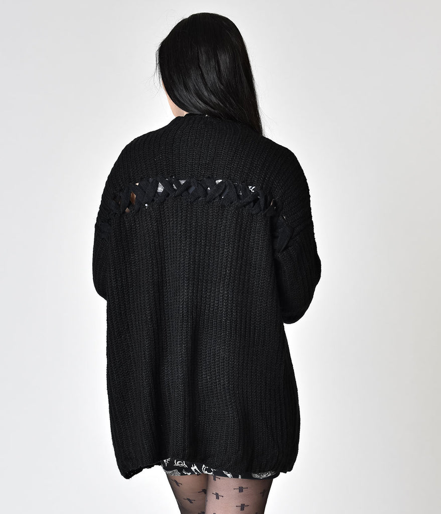 Black Crochet Knit Long Sleeve Laces Sweater Top