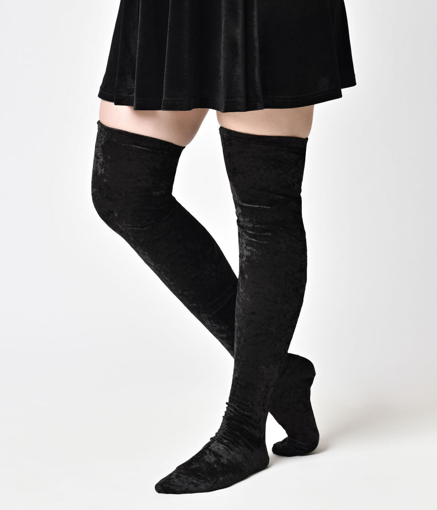 Black Crushed Velvet Thigh High