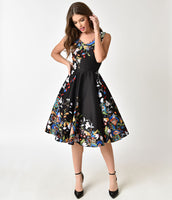 V-neck Floral Print Cotton Vintage Back Zipper Darts Pocketed Gathered Sleeveless Swing-Skirt Dress